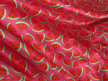 100% Polyester Fashion Design Watermelon Printed Smooth Satin Fabric Tissu Bedding Skirts Shirt Dress Material