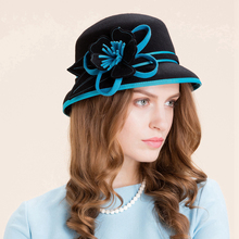 Winter Vintage Red/Sky Blue Flowers Ladies Elegant 100% Wool Hats For Women Dome Felt Fedoras Hats