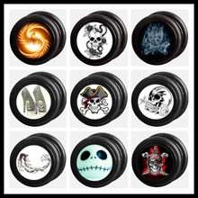 2015 new arrival custom logo acrylic fake ear plug big earrings