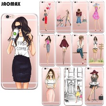 Fashion Drink Coffee Girl Phone Case For iPhone X 6 6S PLUS 5 5S SE 7 7Plus 8 8Plus Transparent Silicone Phone Back Fundas Cover(China)