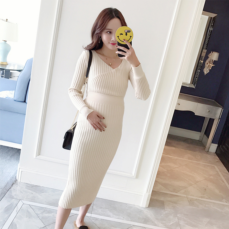 Make early spring fashion new maternity clothes Han edition of mother can be long knitting skirt in mammals<br>