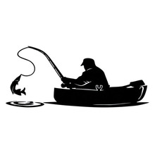 15.2*6.5CM Fashion Fisherman Fishing On Board Car Sticker Covering The Body Of Interesting Vinyl Decals Black/Sliver C7-1326(China)