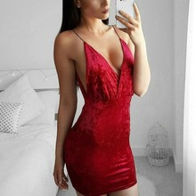 Women Elegant Dress Velvet Sleeveless Night Club Wear Clothing package Hip Female Bodycon Red White  Dress