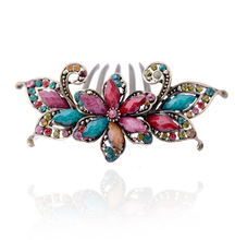 Retro High Quality Rhinestone Flower Hair Combs Antique Bronze Plating Costume Women Hair Jewelry