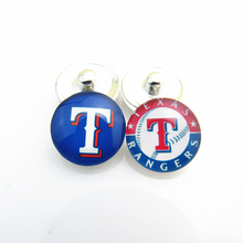 Fashion MLB Baseball Sports Mix Texas Rangers Logo Glass Snap Button Charms For 18mm Snap Bracelets Jewelry