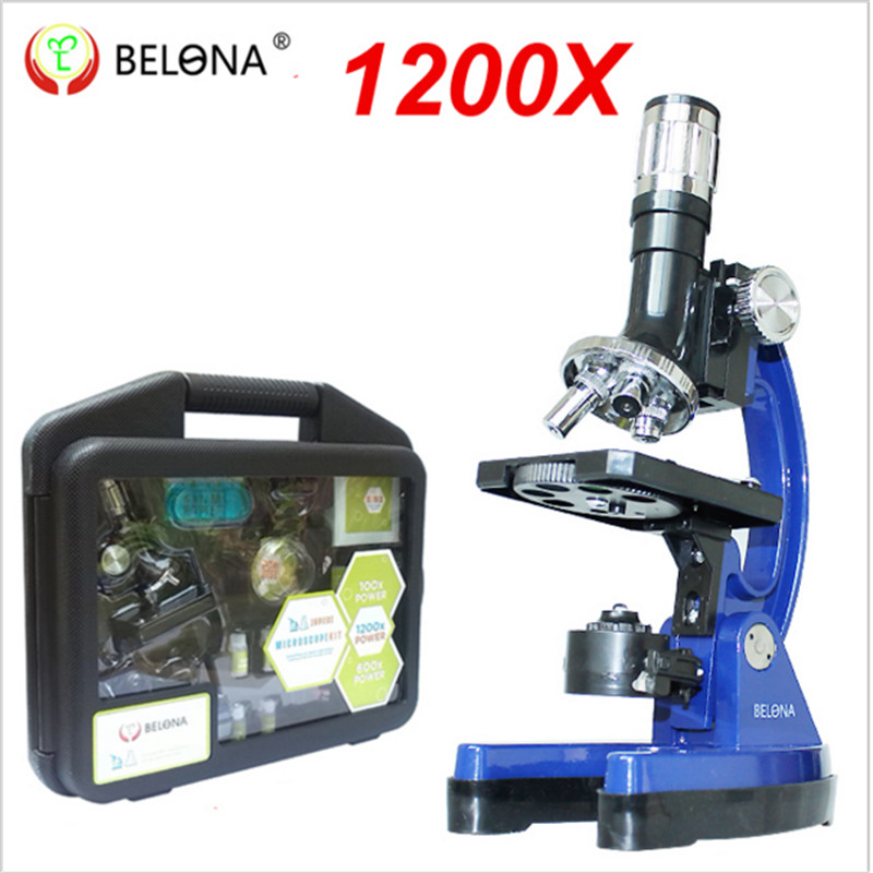 Portable 1200x Beginner Kit microscope for child gifts with LED light 10pcs prepared glass microscope slides and Carry Box(China (Mainland))