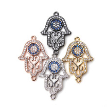 1pc 26*18mm Hollow Out Fatima Hand Connector Micro Pave Crystal Evil Eye Hamsa Palm Charms Pendant DIY Jewelry Findings(China)