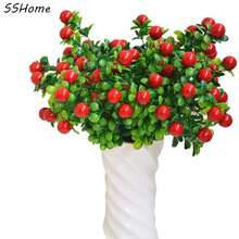 High Simulation Eucalyptus Fruit Red Eucalyptus Happy Fruit Grass Leaves Artificial Plants Home Decorations(China)