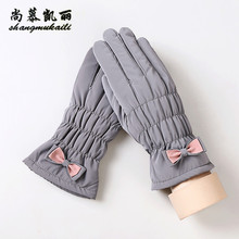 Down cloth Gloves Real Sheep Fur Mittens Cashmere female Gloves waterproof Genuine Leather solid Gloves lady 4 patterns Mittens(China)