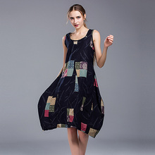 2017 Ladies Casual Day Dress Comfort Mixi Party Dresses Women Plus Size Black Cotton Abstract Plaid Elegant Loose Sleeveless