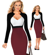 Hot Sale Plus Size Slim Cut Summer Knee-length Office Work Dresses Victoria B Deep V Sexy Pencil Dress Brief Bodycon Dress D252(China)