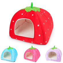 FOPPET New Cute Lovely Puppy Cat Rabbit Guinea Pig Bed Kennel Nest Dog House Strawberry Foldable Soft High Quality Pet House(China)