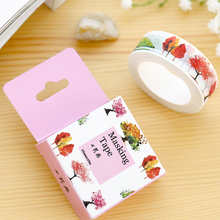 1 Pc 1.5cm * 10m Plum Blossom Washi Tape Lot Masking Tape Post It Japanese New Stickers Kawaii Stationery School Supplies