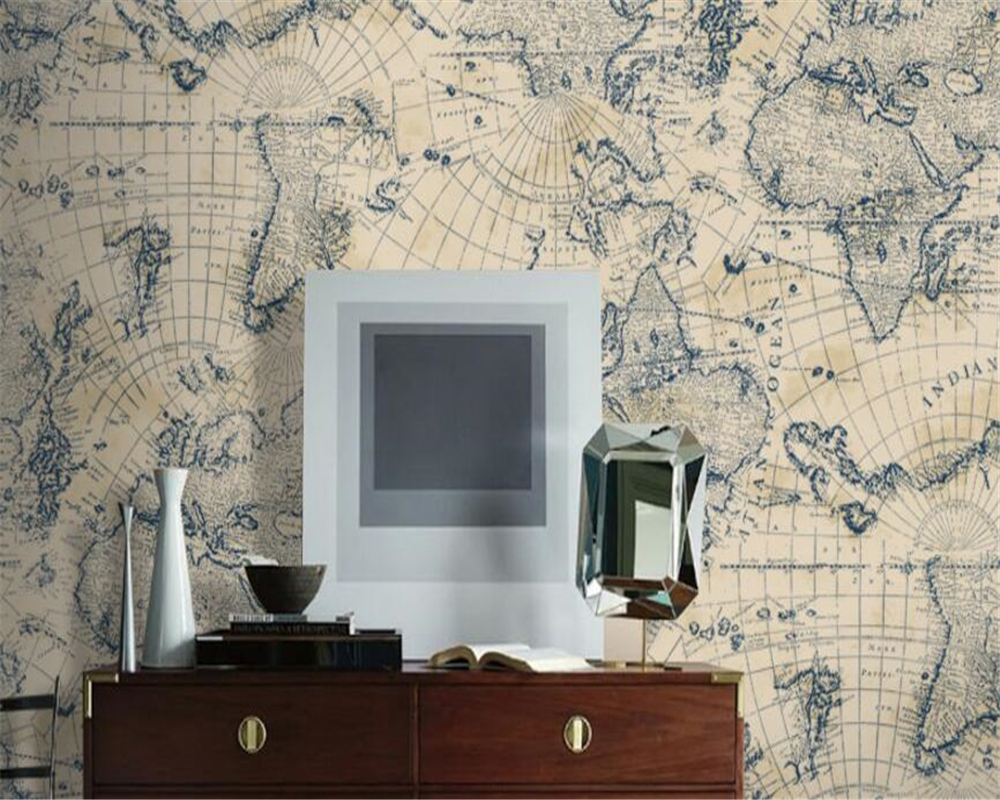 Beibehang European style simple Mediterranean map wallpaper living room hotel coffee shop study TV background wall 3D wallpaper <br>