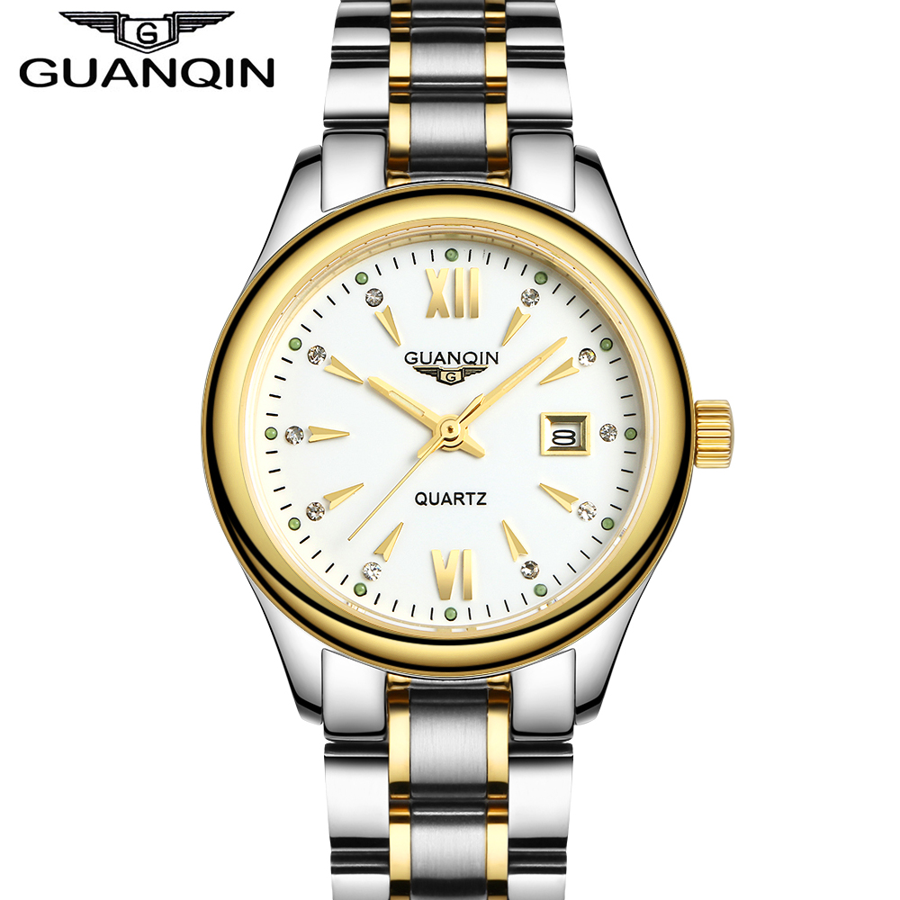 GUANQIN Womens Luxury Watches Full Stainless Steel Calendar Luminous Women Female Quartz Watch relogio feminina<br>