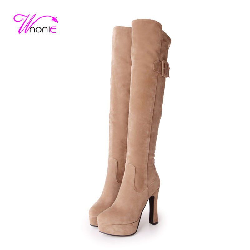 2017 Women Long Boots Riding Thigh High Boots Square High Heel Platform Flock Zipper Buckle PU Party Dress Winter Ladies Shoes<br><br>Aliexpress