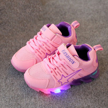 Children Candy soft Sneakers With Light Spring Autumn Flexible boys girls led net breathable fashion student kids shoes eu 21-30