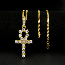 2017 new arrive trendy Egyptian Ankh Key Of Life cross Pendant Necklace Gold&Silver Color bling bling fashion Hip hop Jewelry