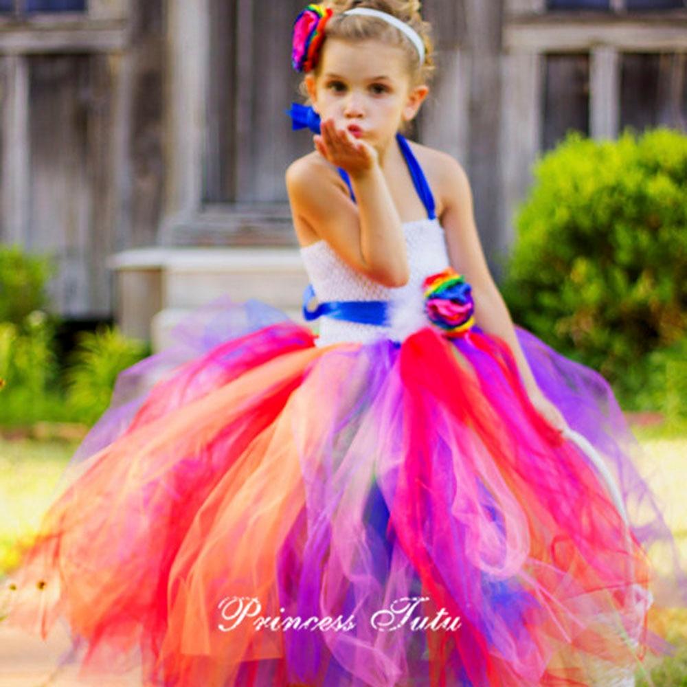 Summer Style Rainbow Flower Girl Party Dress With Flower Headband Fluffy Wedding Pageant Vestido Daminha Casamento<br>