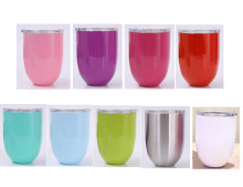 50pcs 9 Colors 10oz Egg Cup Double Layer Stemless Mugs Powder Coated Stainless Steel Beer Wine Glasses Vacuum Insulated Cups(China)