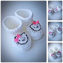 White Hello Kitty Crochet Baby Booties, Newborn Crochet Shoes, Crochet Booties, Baby Shoes, Boots for babies, Baby shower gift,