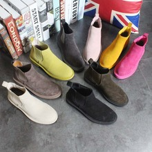 Spring Frosted Genuine Leather Chelsea Boots Female Casual Boots Fashion Preppy Style Women's Shoes Flat Heels 9 Candy Colors