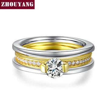 Ouro branco & Amarelo Banhado A Ouro AAA CZ Rodada Bijoux Moda Anéis de Casamento Para As Mulheres Aniversary Presente ZYR637 ZYR636