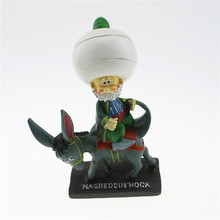 Lovely Nasreddin Hodja in Big White Hat with His Donkey, Table Decor and Model,  Turkish Souvenir