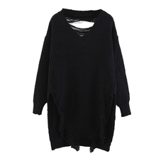 back line long hair pulling clothes loose cardigan collar V irregular Strapless tassel sweater for woman