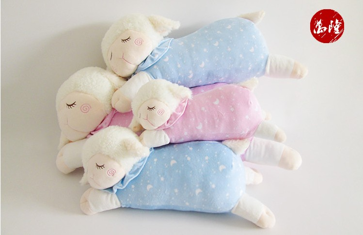 Sweet Sleeping Sheep Plush Toy Baby Toys Appease Baby to Sleep Plush Doll pink blue color<br><br>Aliexpress