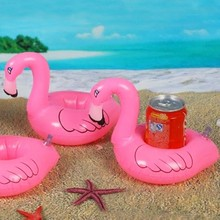 Inflatable Flamingo Drink Can Cell Phone Holder Stand Coasters Float Pool Toy for Kids Fun Swimming Floatation Device(China)
