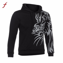 2017 Men's Autumn Winter Printed Long Sleeve Hooded Sweatshirt Tops Casual Design Printed Hooded Pullover Jumper Sportswear(China)