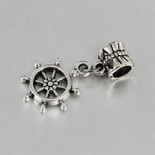 free shipping silver color Steering wheel charms Fits European Pandora Charm Bracelets & Necklaces PC090(China)