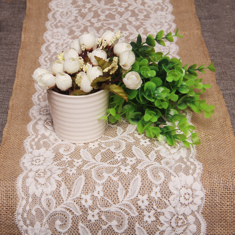 SunnyRain 10 Piece Luxury Lace Burlap Table Runner Wedding Party Table  Decoration Linen Table Runners