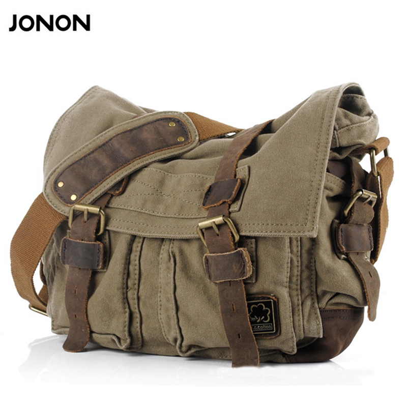 JONON Mens Canvas Crossbody Bag Military Shoulder Bags Vintage Messenger Bag Fashion Scholl Bag Tote Briefcase JJ0030<br>