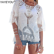 White Women Blouse Sexy Lace Crochet Boho Casual Beach Bikini Cover Up Blouses Shirt Tops Cheap Clothes China