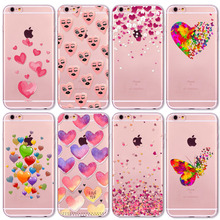 Watercolor Butterfly Pink Love Heart Travel Girl Case For iphone 6 6s 7 5 5s se 7Plus 6Plus 4 4S Transparent Silicon Cases Cover