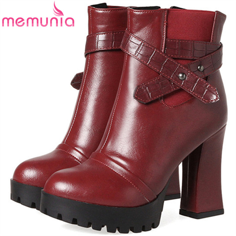MEMUNIA 2018 Ankle boots for women fashion shoes new arrive motorcycle boots platform zip PU solid autumn large size 34-43<br>
