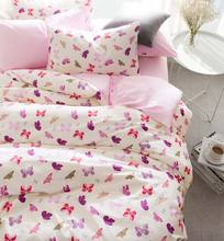 Pink purple butterfly bed set cotton teen kid,twin full queen king single double home textile flat sheet pillow case duvet cover