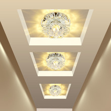 Corridor Mirror Ceiling Lamp Aisle Veranda Lighting Down Crystal Mordern Surface Mounted LED Ceiling Lights For Living Room(China)