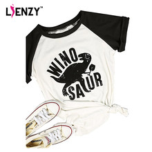 LIENZY Summer Winosaur Dinosaur T Shirt Vintage Cartoon Patchwork Funny Woman TShirt Tops