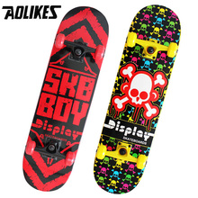 Freestyle Brush Street 31 inch Long Skate Board AOLIKES Brand Maple Four Wheel Double Rocker Graffiti Style Highway Skateboard(China)