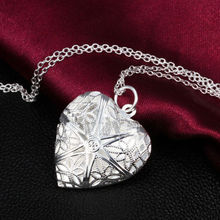 Silver Plated Love Heart Locket Chain Pendant Necklace Valentine Gift