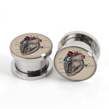 Pair of Vintage Heart plug gauges stainless steel screw fit ear plugs flesh tunnel ear expander SPP042