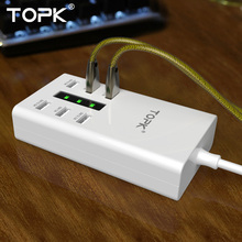 TOPK 36W 7.2A 6 Ports Portable with 1.5 Meter Power Cord  EU Plug Phone USB Charger Adapter for iPhone Xiaomi Samsung Huawei