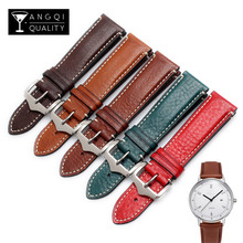 20 22mm Genuine Calf Leather Watchband Belt For Breitling Retro Watch Wrist for Hamilton Strap Brand Bracelets Fashion Man Belt(China)