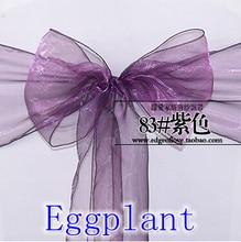 EVENTSDECOR Eggplant Colour Chair Sashes Wedding Party