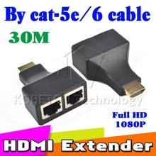 Promotion!! 10 Set Black HDMI Dual RJ45 CAT5E CAT6 UTP LAN Ethernet HDMI Extender Repeater 1080P For HDTV HDPC PS3 STB Wholesale