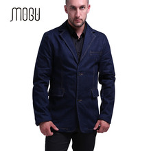MOGU Mens Denim Blazer Slim Fit Navy Blue Mens Blazer Jacket 2 Button Closure Denim Blazer Men Costume Homme