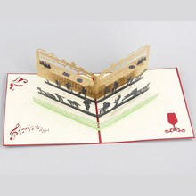 10pcs/lot 3D Music Bar Pop UP Card Handmade Kirigami & Origami Greeting&Gift Birthday Cards Cubic Party Invitations